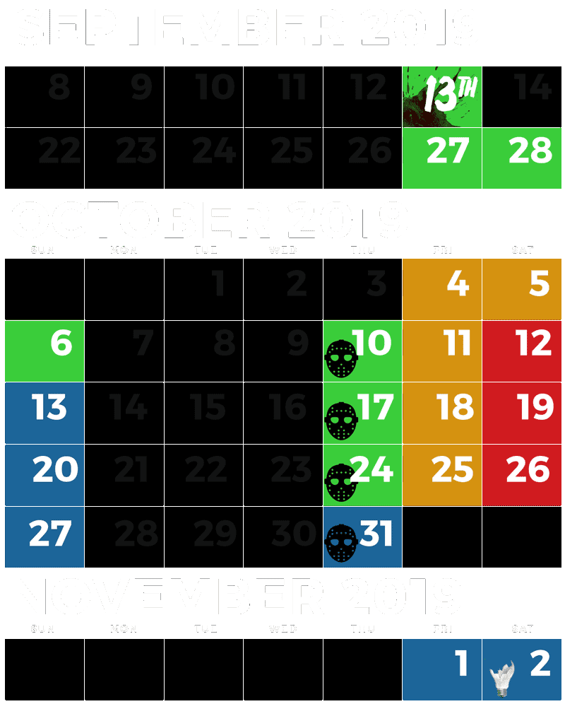 2019 Schedule of Dates